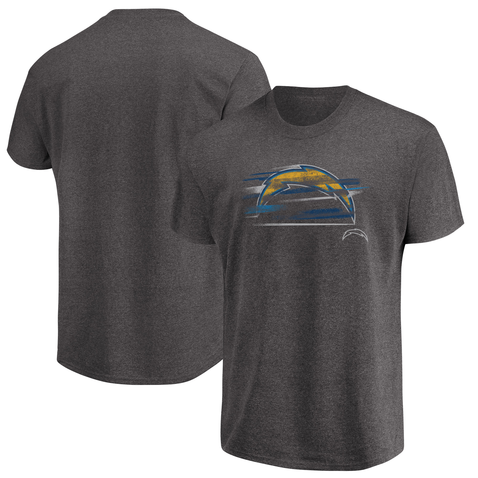 Los Angeles Chargers Majestic Big & Tall Fierce Intensity T-Shirt - Heathered Charcoal