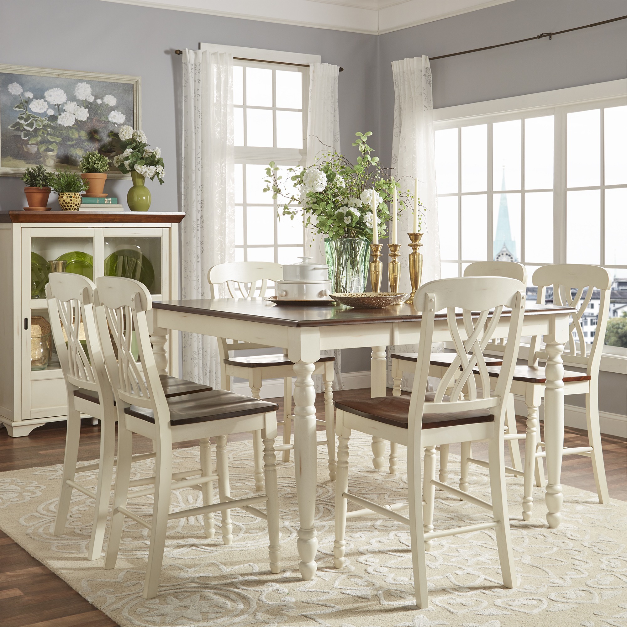 Weston Home Two Tone 7 Piece Counter Height Dining Set Antique White