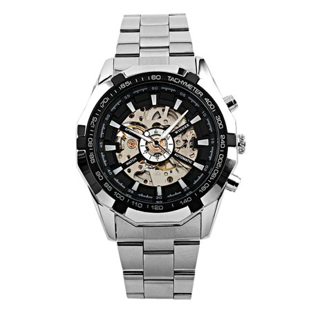 Silver Hands Stainless Steel Case Mens Automatic Watch Self-winding Skeleton ()