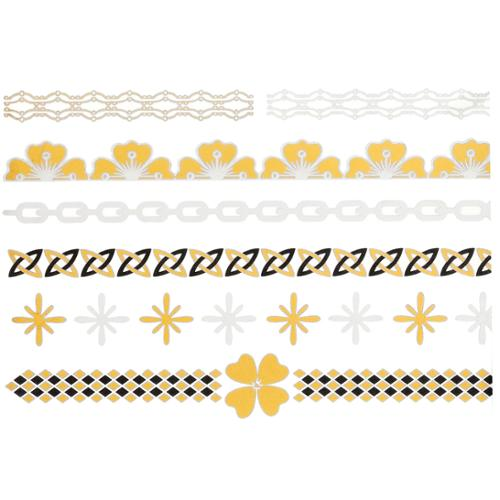 Metal Gold & Silver-Toned Jewelry Temporary Tattoos - Floral Bracelets