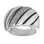 City by City Silvertone Brass Cubic Zirconia Ring
