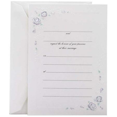 Wedding Invitation Sets (JAM Paper® Fill-In Wedding Invitation Set, Blue Rose,)