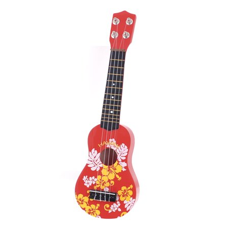 child kids wooden flower print 4 strings mini ukulele guitar toy red. Black Bedroom Furniture Sets. Home Design Ideas