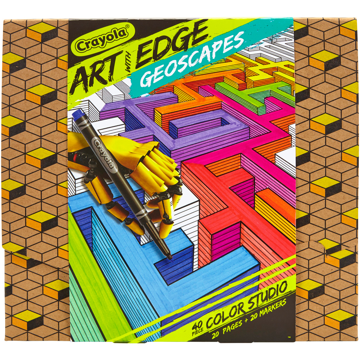 Crayola Art with Edge Geoscapes Coloring Kit, 40 Pieces