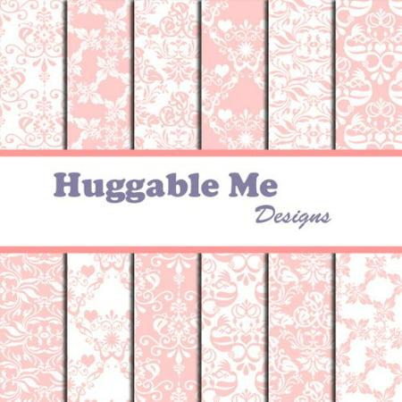 Pastel Pink & White Damask Scrapbook Paper on CD, 12 Designs of digital scrapbook paper on CD By Huggable Me Designs - Pink Scrapbook Paper
