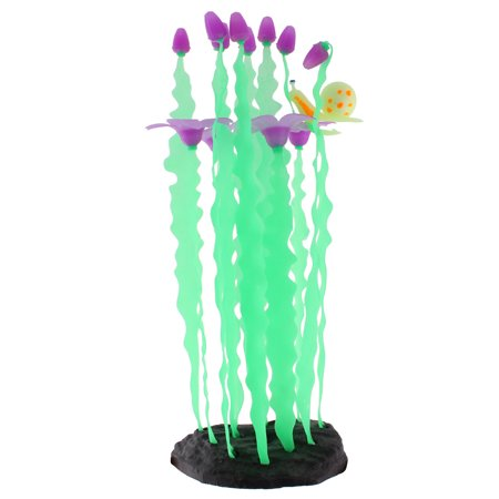 Fish Tank Silicone Flower Head Decor Artificial Aquascaping Seaweed Coral Purple - image 2 of 2