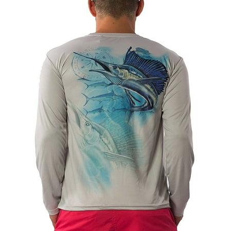 Men's Dri Fit Moisture Wicking Quick Dry UPF 40 UV Athletic Performance Long Sleeve Sport Shirt (Medium, White - Fishing Boat) ()