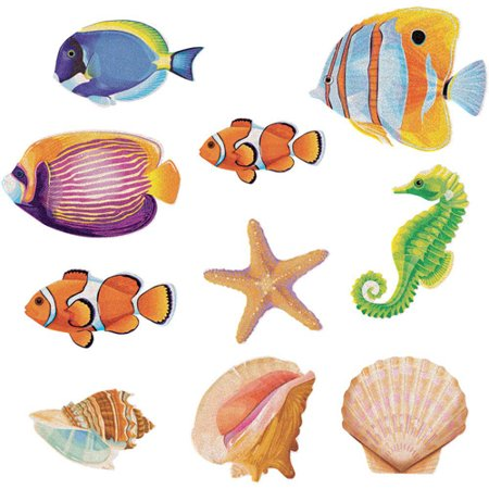 Summer 'Ocean Life' Mini Glitter Cutout Decorations (10pc)
