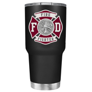 Red Fire Department Badge on Black Matte 30 oz Stainless Steel Tumbler with Lid - FireFighters Gift