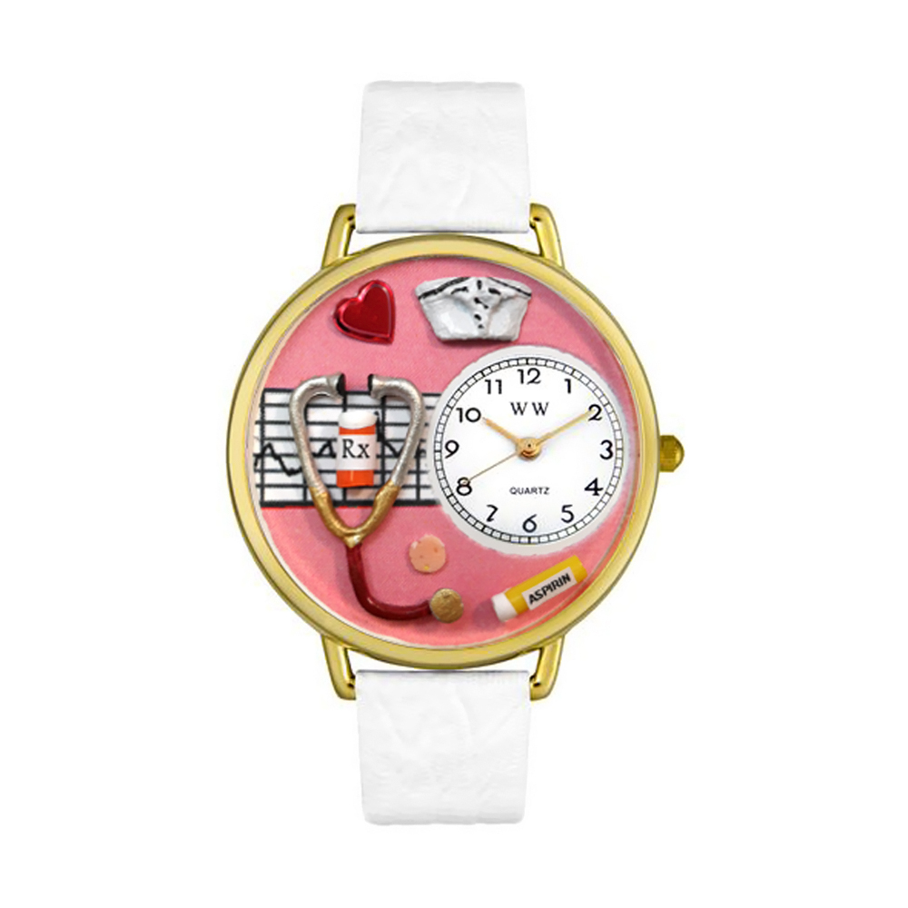 Whimsical Watches Womens G0620040 Unisex Gold Nurse Red White Skin Leather And Goldtone Watch