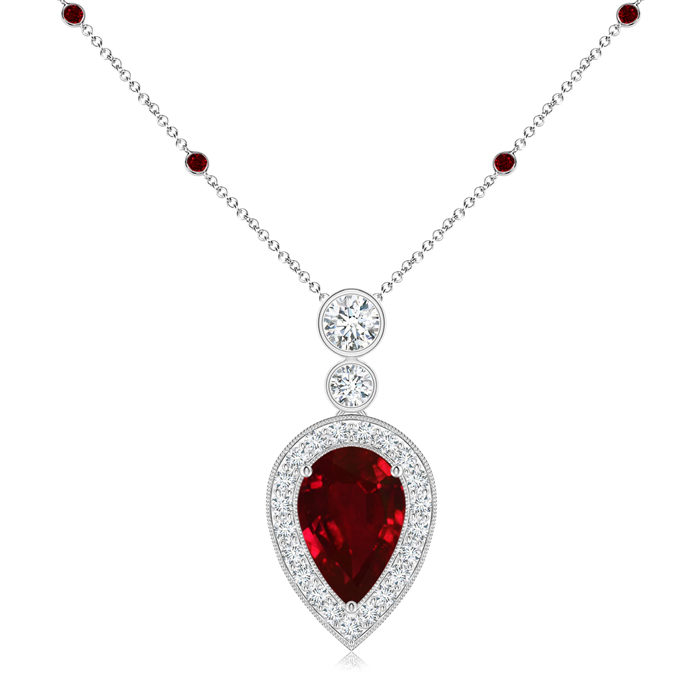 July Birthstone Pendant Necklaces Pear Shaped Ruby Necklace Pendant with Diamond Halo in 950 Platinum (9x6mm Ruby)... by Angara.com