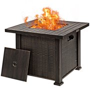 Gymax 30'' Gas Fire Table 50,000 BTU Square Propane Fire Pit Table w/Lid and Lava Rocks