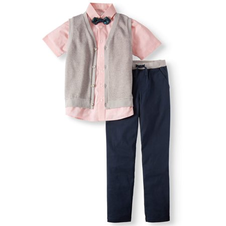 Wonder Nation Dressy Set with Striped Knit Vest, Coral Slub Short Sleeve Shirt, Bow Tie, and Twill Pull-On Pants, 4-Piece Outfit Set (Little Boys & Big Boys) (Little Boy Ring Bearer Outfits)