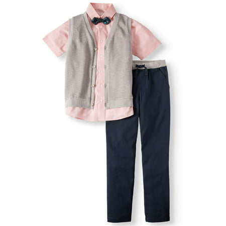 Dressy Set with Striped Knit Vest, Coral Slub Short Sleeve Shirt, Bow Tie, and Twill Pull-On Pants, 4-Piece Outfit Set (Little Boys & Big Boys) - Skylander Outfits