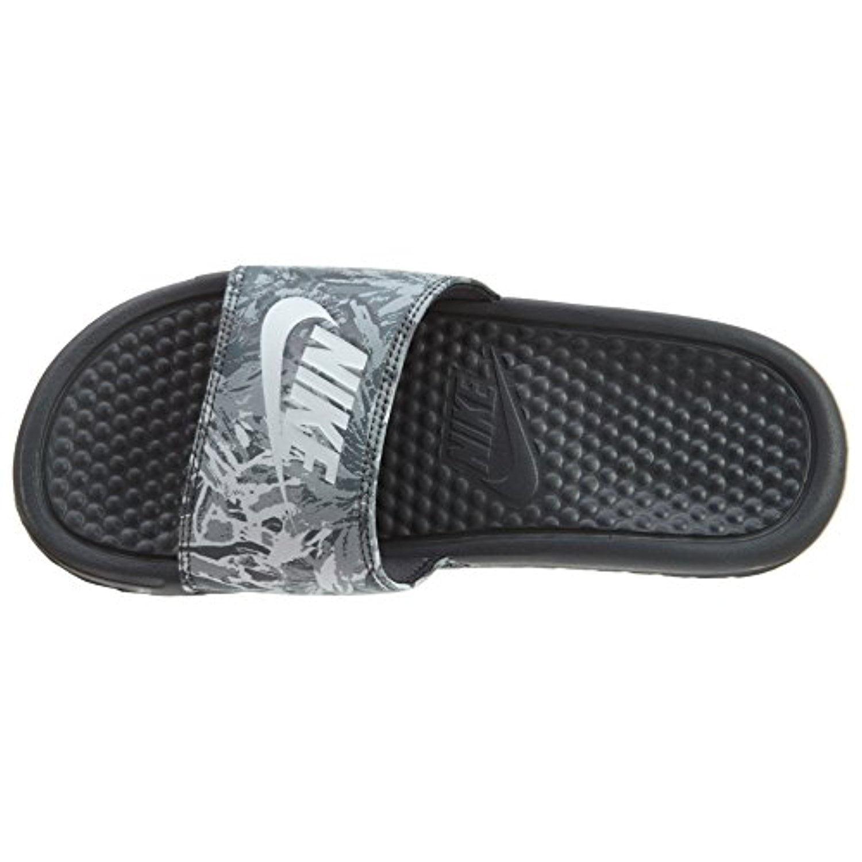 Nike Women's Benassi JDI Solarsoft Print Slide Sandals (6 B(M) US, Dk Gry/Pur Plat/Anth/Wht)