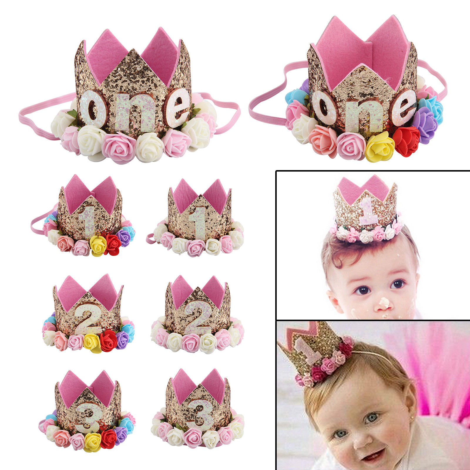 Birthday Crown Baby Girl Princess Hat Gold Flower Tiara Headband Party Supplies