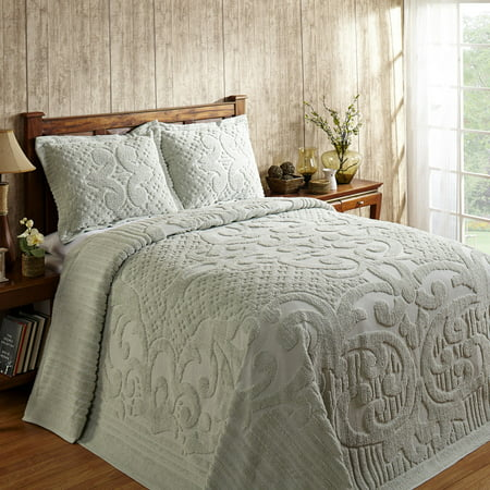 Better Trends Ashton Collection is super soft and light weight in Medallion Design 100% Cotton Tufted Unique Luxurious Machine Washable Tumble Dry, Queen Bedspread, Sage