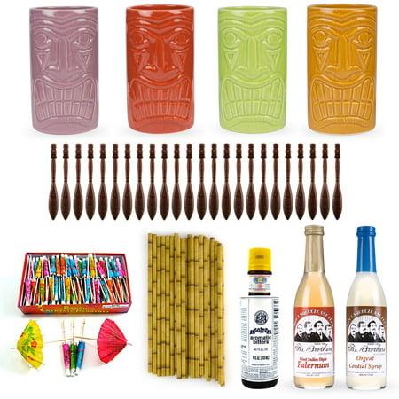 Tiki Drink Accessories Starter Kit - Includes Ceramic Mugs, Ingredients & - Tiki Drinks