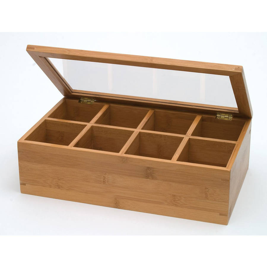 Bamboo and Acrylic 8-Compartment Tea Box