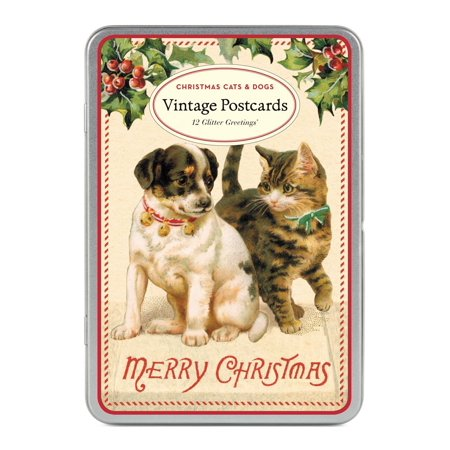 Cavallini Papers Christmas Cats and Dogs Glitter Greetings 12 Assorted Glittered Postcards Per Tin, Ideal for correspondence or decorative purposes By Cavallini Papers Co Inc](Antique Halloween Postcards For Sale)