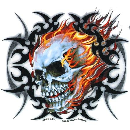 Paint Tribal Flames - Officially Licensed - Tribal Flame Skull - Sticker / Decal