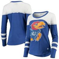 Women's Russell Athletic Heathered Royal Kansas Jayhawks Yoke Tunic Long Sleeve T-Shirt