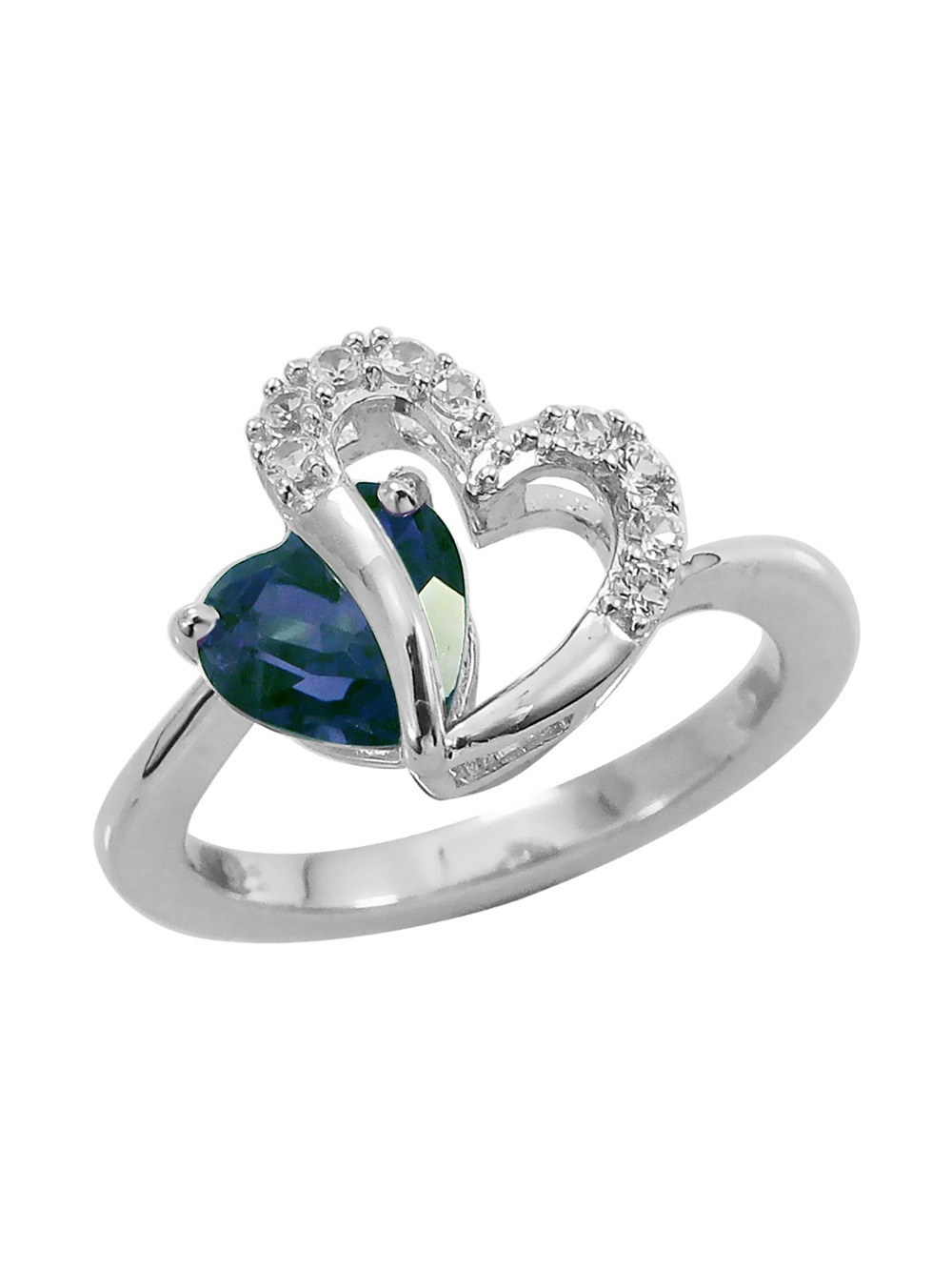 Created Blue and White Sapphire Two Hearts Ring in Sterling Silver