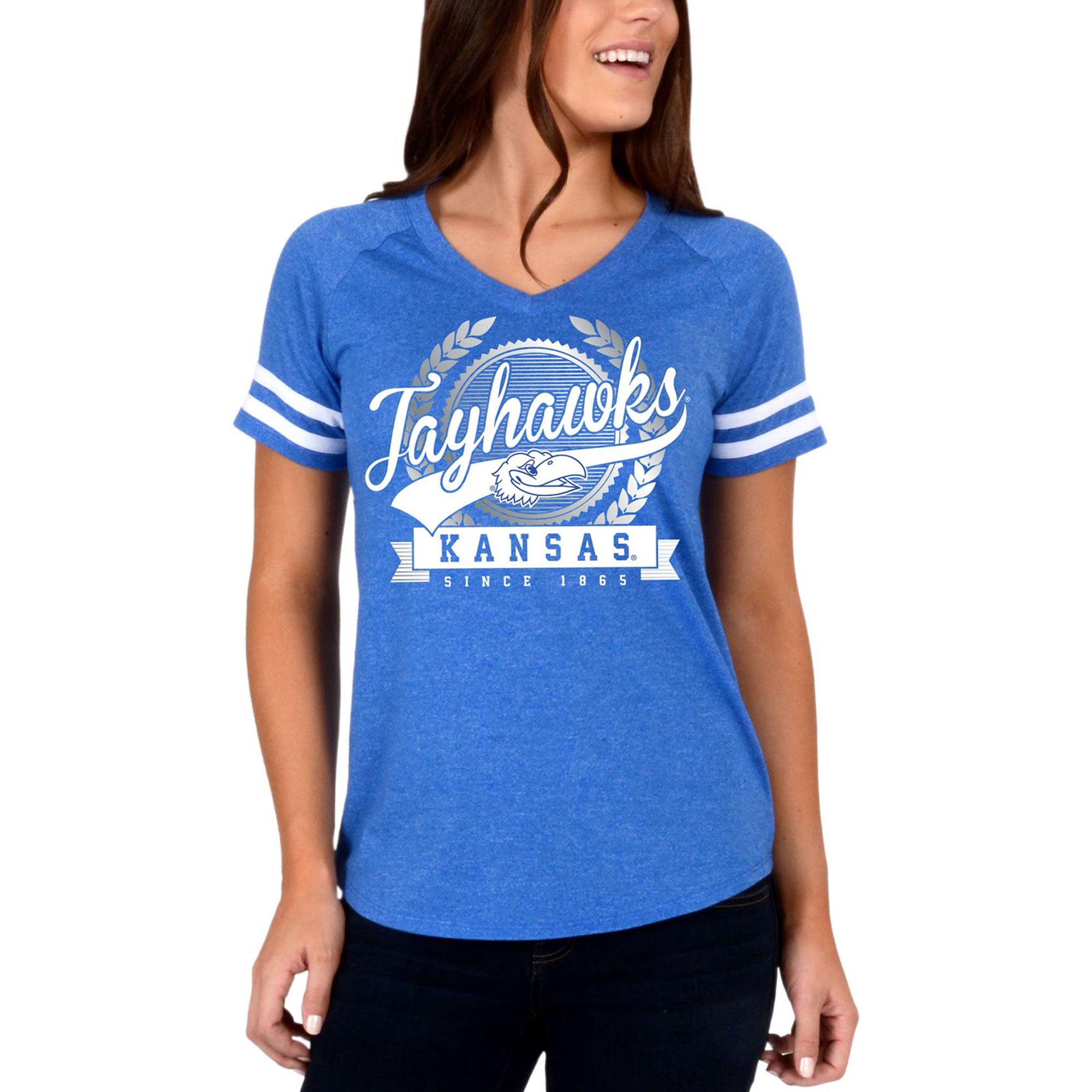 Women's Royal Kansas Jayhawks Laurel Script V-Neck T-Shirt