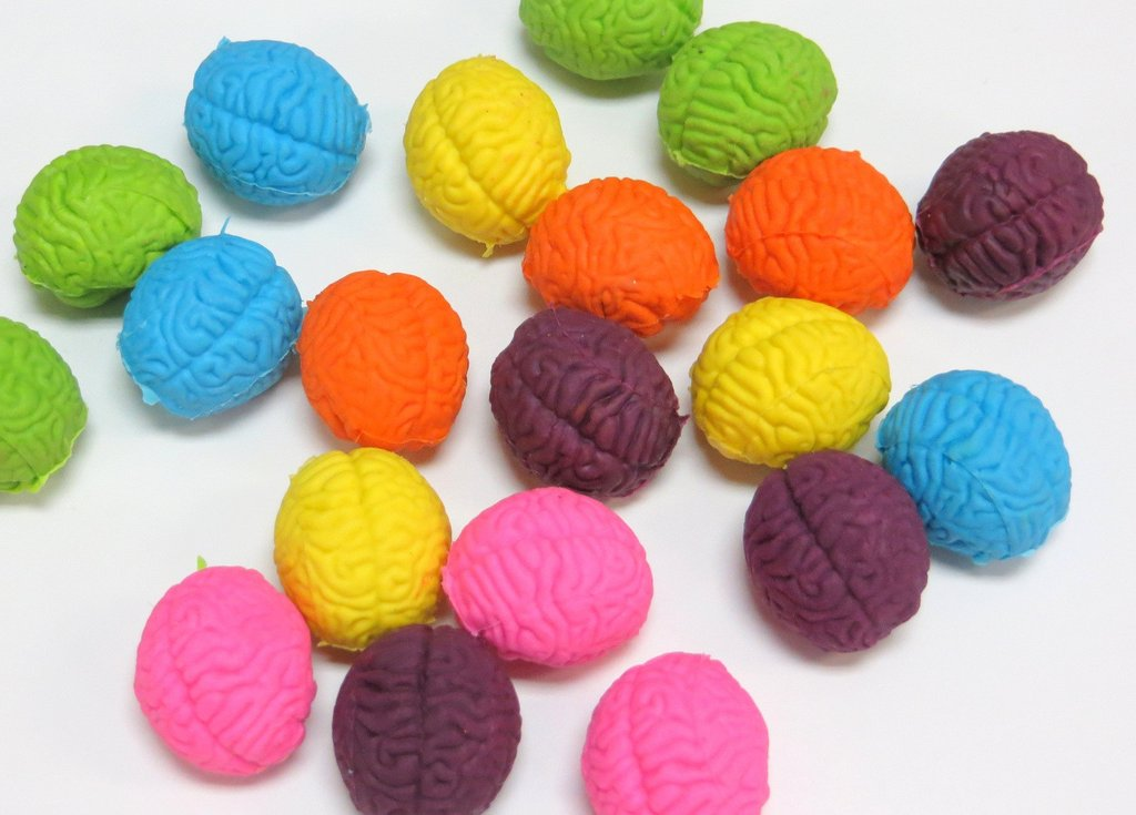 Brain Shaped Erasers Assorted Colors lot of 20 by