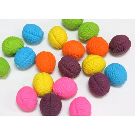 Brain Shaped Erasers Assorted Colors lot of 20](Brain Eraser)