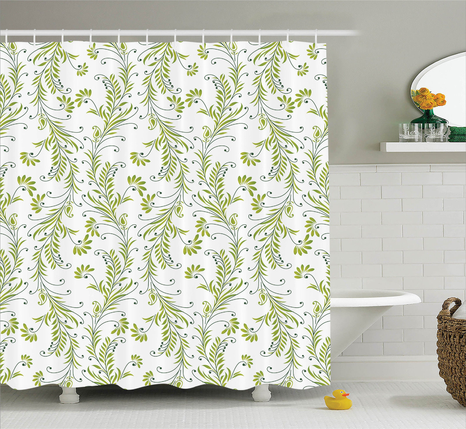 House Decor Shower Curtain Set Paisley Leaf Antique Stem Swirl Traditional Damask Luxury Fashion Stylize Flora Bathroom Accessories 69w X 70l