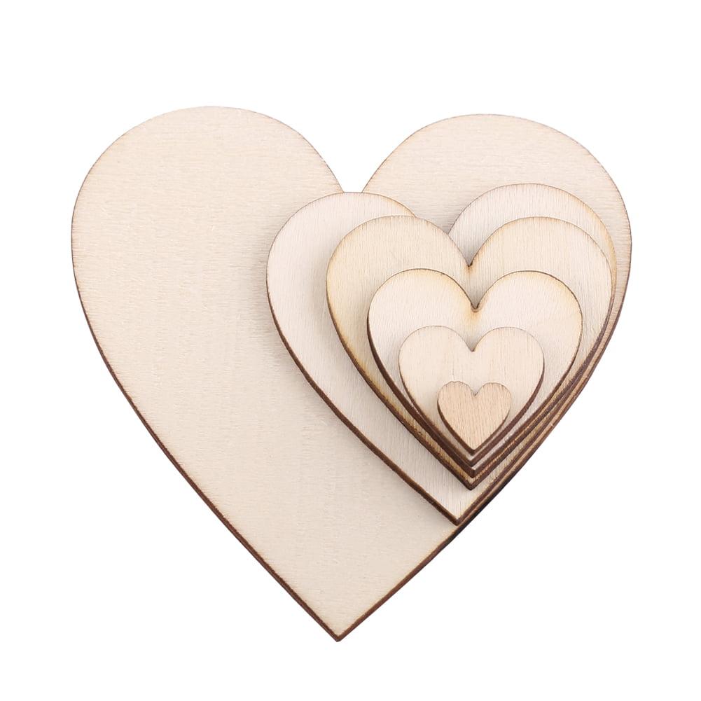100pcs Wooden Love Heart Shape for Weddings Plaques Art Craft Embellishment Best