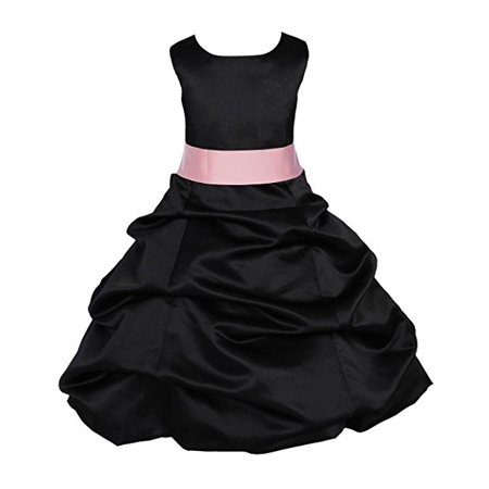 Ekidsbridal Black Satin Pick-Up Bubble Flower Girl Dresses Formal Special Occasions Dresses Wedding Pageant Recital Reception Party Ball Gown Graduation Birthday Girl Ceremony Princess 806S