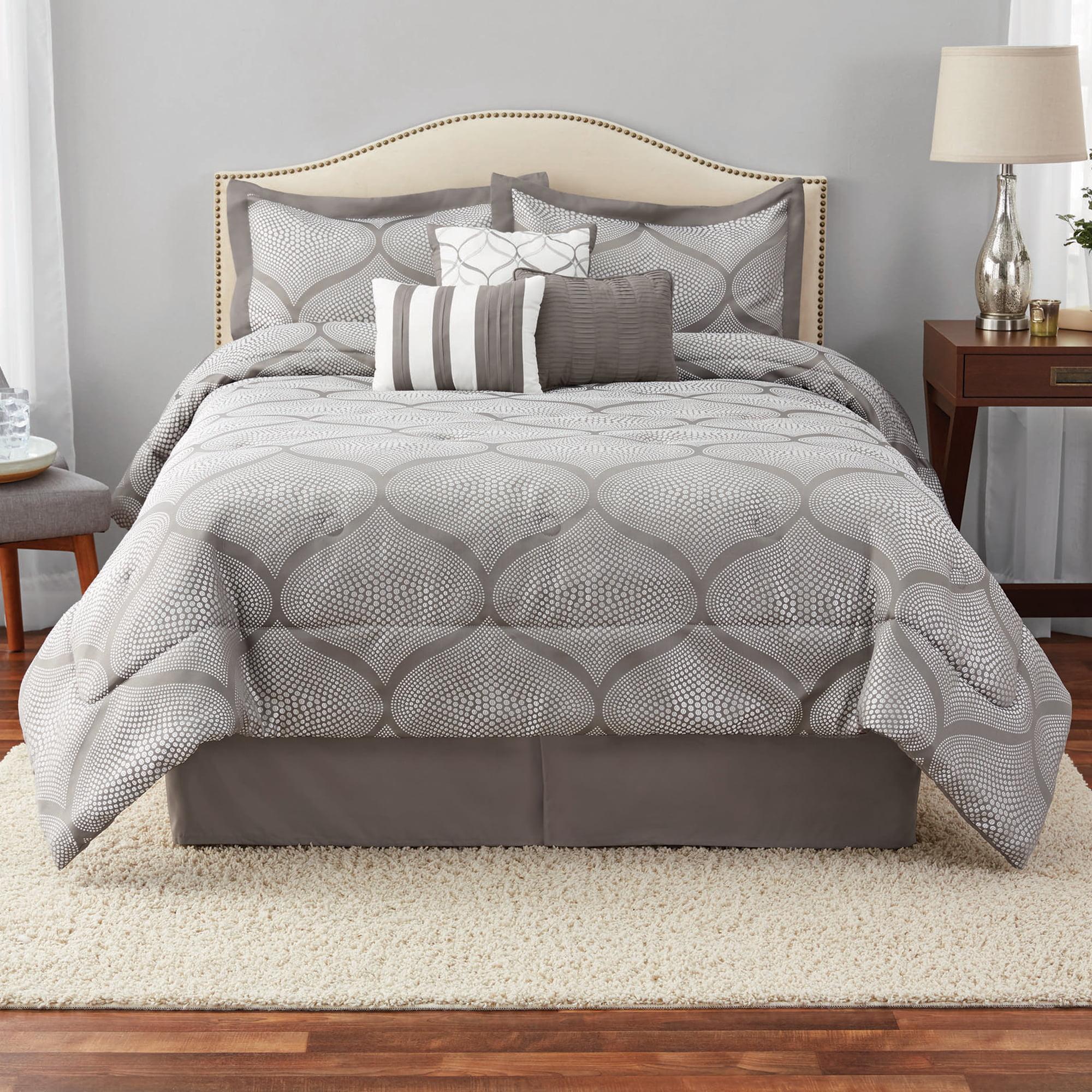 Mainstays Full or Queen Damask Comforter Set, 7 Piece