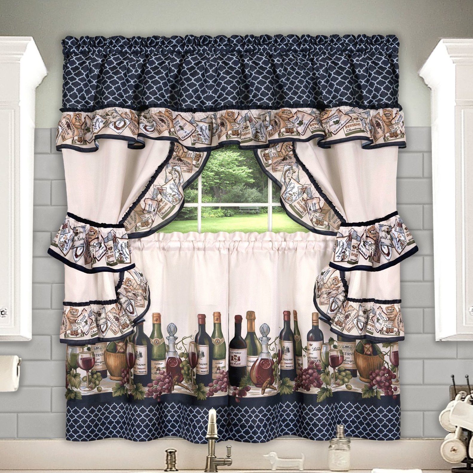 Chataeu Complete Kitchen Curtain Tier, Swag, Tiebacks & Valance Set - 24 in. Long
