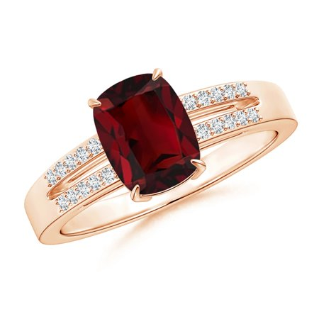 Valentine Jewelry Gift - Cushion Garnet Split Shank Ring with Diamond Accents in 14K Rose Gold (8x6mm Garnet) - SR1061GD-RG-AAA-8x6-7.5