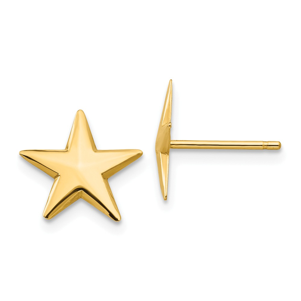 14k Yellow Gold Nautical Star Post Earrings (0.4IN x 0.4IN )