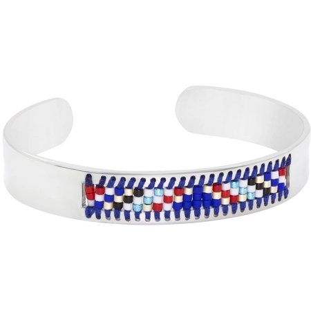 Stainless Steel Jewelry Wrapped Tribal Geometric Pattern Beaded Inspirational Cuff Bracelet, Red, Black, Blue and White - Red White And Blue Bracelet