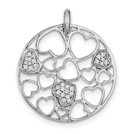 Sterling Silver Cut Out and Cubic Zirconia Hearts Circle Pendant