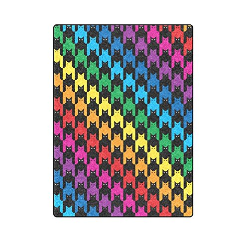 CADecor Cats Hounds Tooth Rainbow Colors Throw Blanket Bed Sofa Blanket 58x80 inches