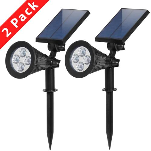 BCP Solar Lights Spotlight Outdoor Landscape Lighting Waterproof Wall Light Security Night Lights, Pack of 2