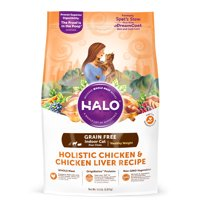 Halo Grain Free Natural Dry Cat Food, Indoor Healthy Weight Chicken & Chicken Liver 11.5-Pound Bag