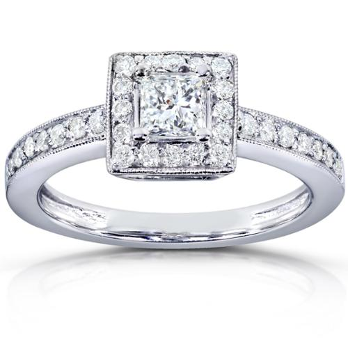 Annello  by Kobelli 14k White Gold 5/8 Carats TDW Diamond Square Halo Milgrain Vintage Engagement Ring