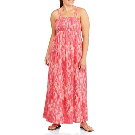 Faded Glory - Faded Glory Women\'s Plus-Size Straplesss Smocked Maxi ...