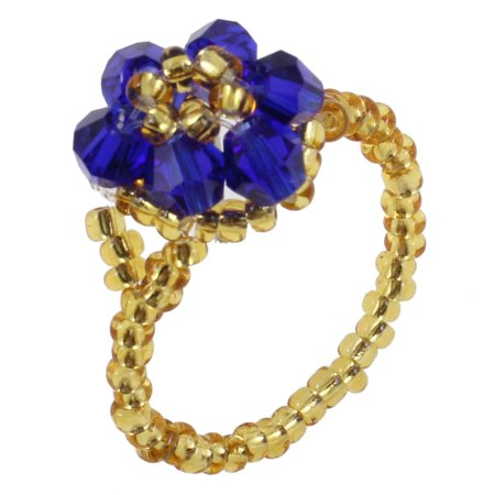 Unique Flower Ring - Unique Bargains Finger Ornament Royal Blue Plastic Round Beads Flower Ring US 7 for Women
