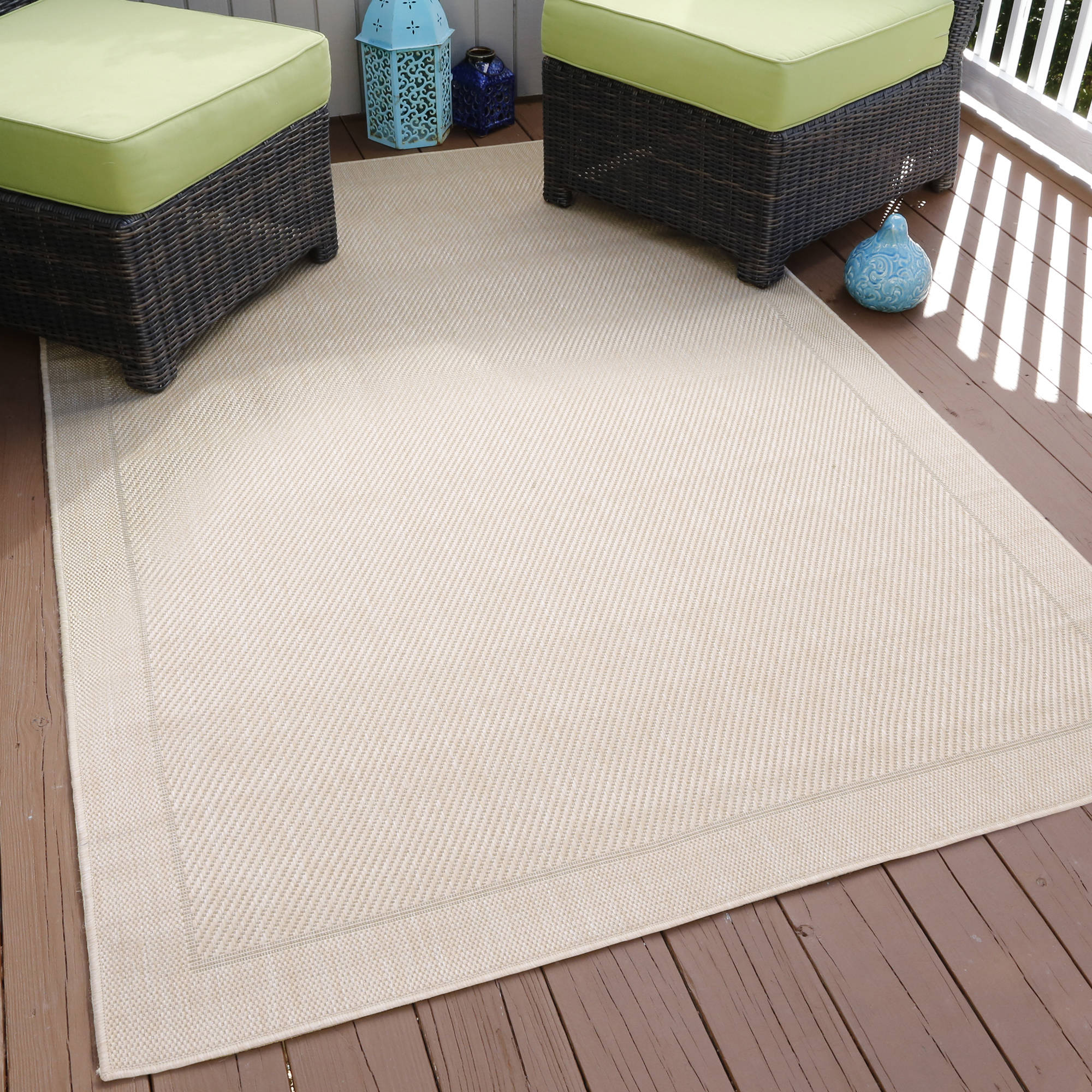Somerset Home Border Indoor/Outdoor Area Rug, Beige, 5' x 7'7""