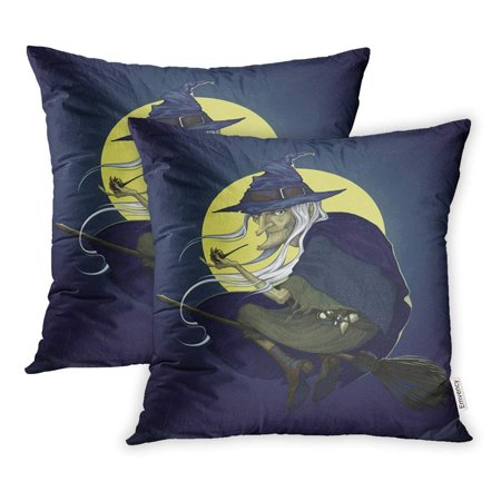 ARHOME Flying Halloween Witch Night Broom Dark Detailed Evil Fear Hat Pillowcase Cushion Cover 16x16 inch, Set of 2 - Witch Hat And Broom