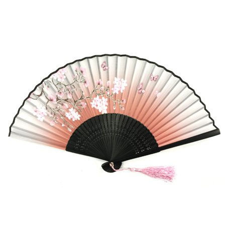 Cherry Blossom Sleeve (Wrapables® Silk Handheld Folding Fan with Tassel and Protective Sleeve, Cherry Blossoms Pink )