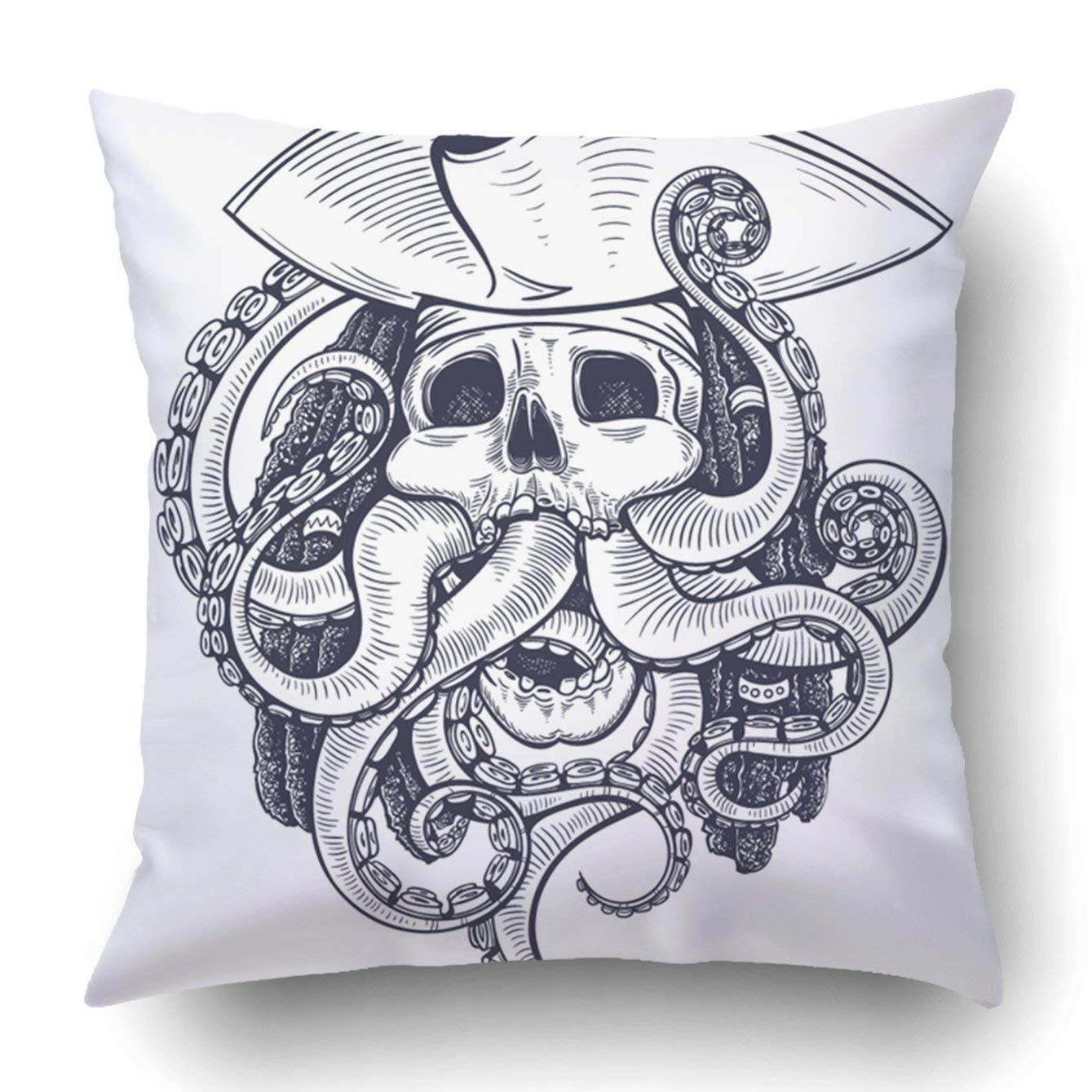 WOPOP Black and White Pirate Skull Tentacle Pillowcase Throw Pillow Cover Case 16x16 inches