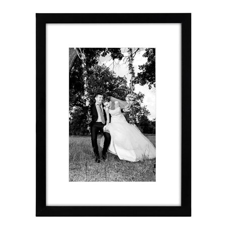 Mutt Mat - Americanflat 12x16 Black Picture Frame - Matted to Fit Pictures 8x12 Inches or 12x16 Without Mat - Glass Front - Hanging Hardware Included